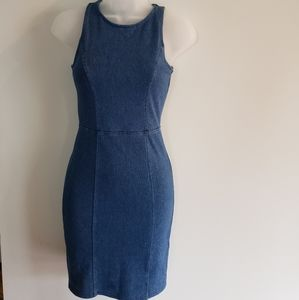 H&M Ladies Blue Stretchy Denim Sleeveless Dress